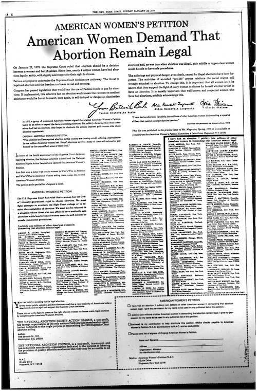 Abortion petition from 1970s New York Times on microfiche