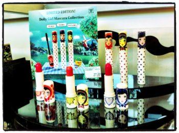 Anna Sui makeup display representing Russian tchotchkes