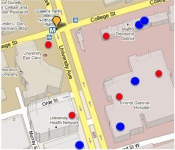 Map of Tim Hortons in Toronto