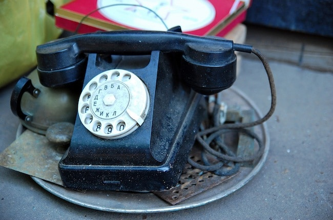 Vintage Russian phone found in Moscow illustrating how immigrants keep in touch
