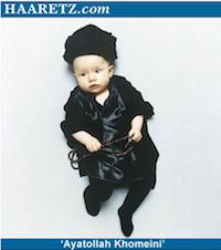 Baby dictator photos - baby dressed up as Ayatollah Komeini