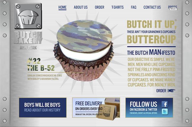 Butch Bakery website screengrab for gendered food terms