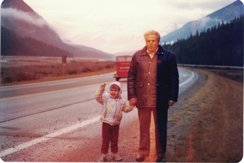 My grandfather and brother in the Rockies.