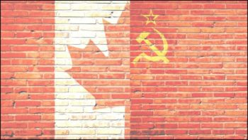 Canadian Soviet flag mash-up symbolizing Canadian diversity advertising