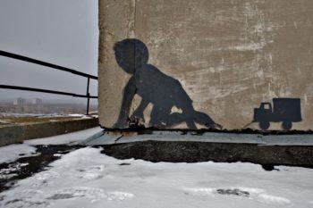 Graffiti in Chernobyl to illustrate oral history of Chernobyl disaster