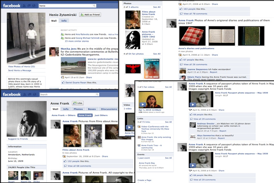 The Holocaust and Facebook: Collage of Anne Frank and other Holocaust victims Facebook profiles