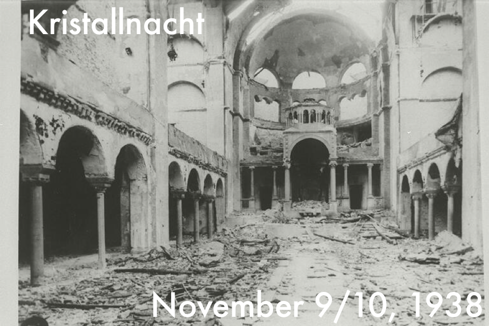 Kristallnacht on Twitter post - interior of burnt synagogue in Berlin