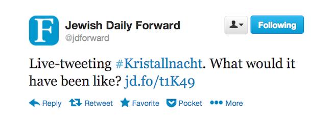 Kristallnacht on Twitter post - tweet from the Forward