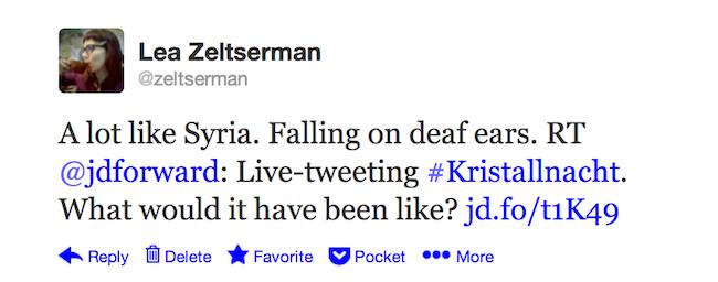 Kristallnacht on Twitter post - tweet in response to Forward