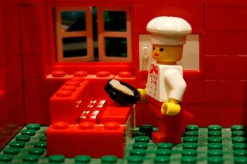 Lego woman chef figurine representing female chefs and sexism