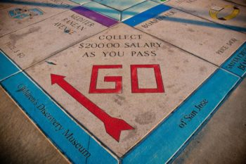 Monopoly board for educational history games