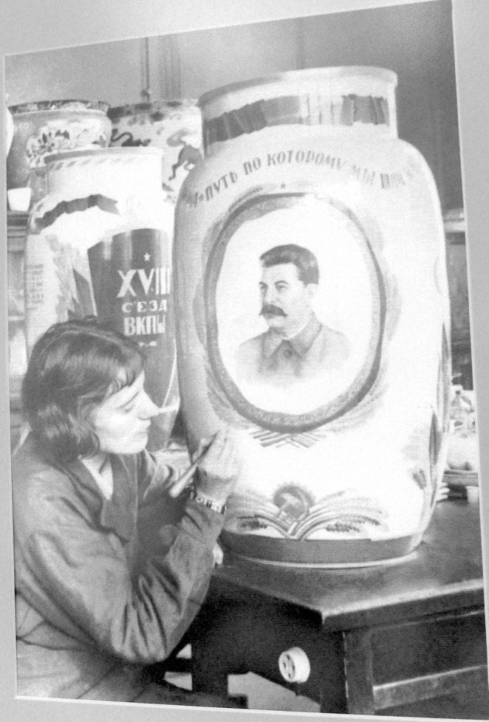 Soviet Propaganda Porcelain - artist painting Stalin vase
